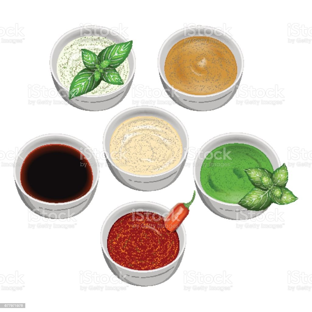 Set of tasty fresh sauce fish and meat on a white background. For use as logos on cards, in printing, posters, invitations, web design and other purposes. vector art illustration