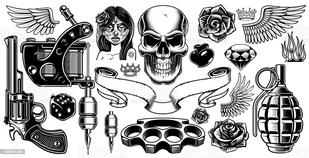 Set Of Tattoo Art Stock Illustration Download Image Now Istock Official tattoo brand tattoo books are one of the greatest contributions to the tattoo industry in the 20th century. set of tattoo art stock illustration download image now istock