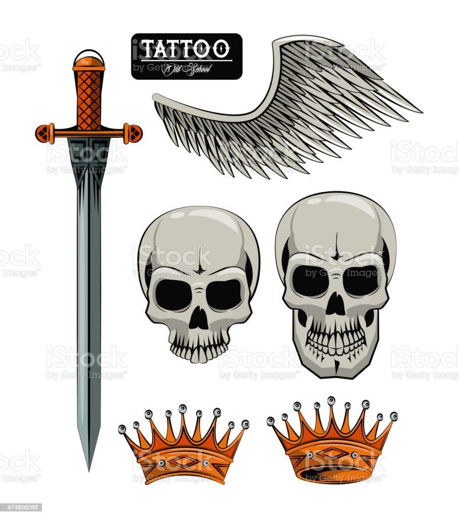 Set of tattoo drawings vector art illustration