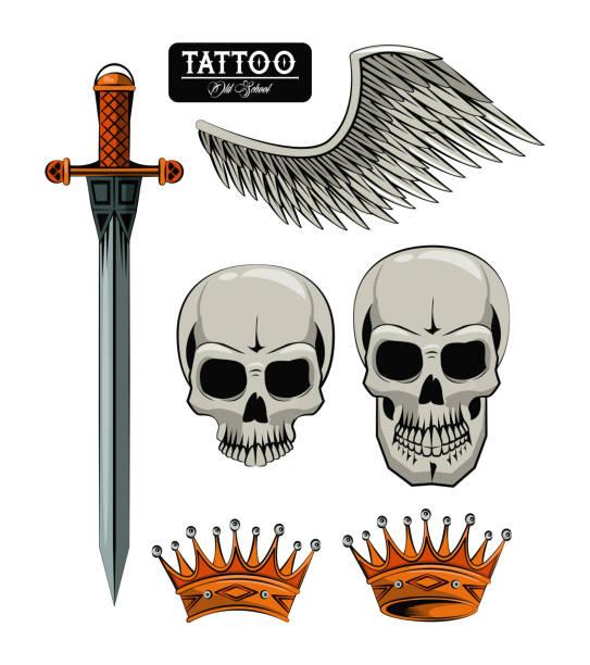ilustraciones, imágenes clip art, dibujos animados e iconos de stock de conjunto de dibujos de tatuaje - tatuajes de espadas