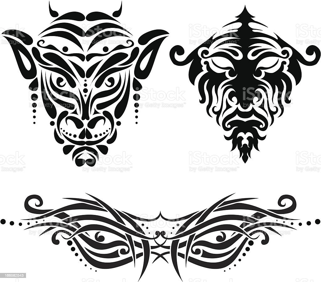Set of tattoo face royalty-free stock vector art