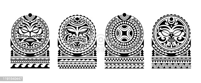 Set of tattoo sketch maori style for shoulder with sun fae