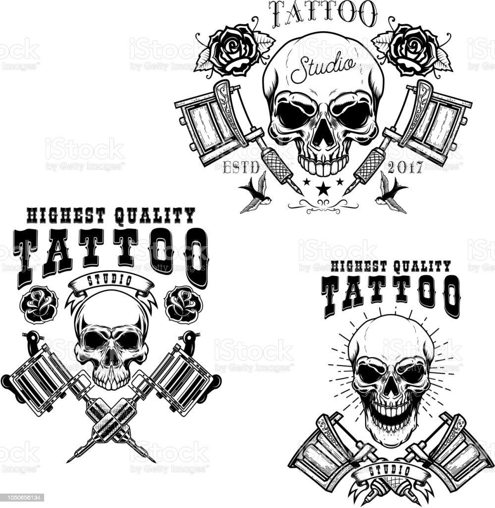 Ilustración De Conjunto De Plantillas De Tattoo Studio Emblema