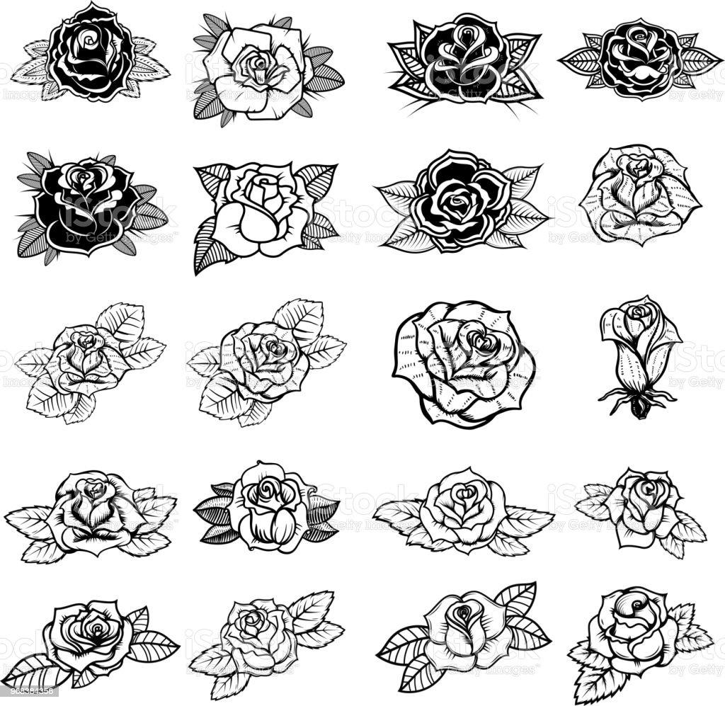 Serie Dillustrations De Roses Style Tatouage Element De Design Pour