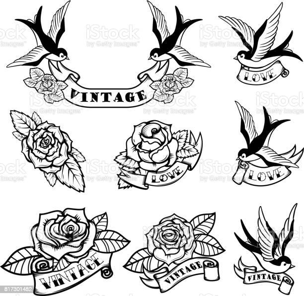 Set of tattoo templates with swallows and roses old school tattoo vector id817301482?b=1&k=6&m=817301482&s=612x612&h=zuaguyko1ze p cwohninufzw8cctqpboaidjgsheju=