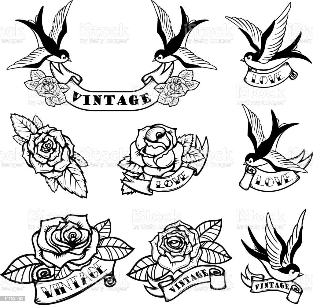 Ensemble de modèles de tatouage avec des hirondelles et des roses. Tatouage old school. Illustration vectorielle - Illustration vectorielle
