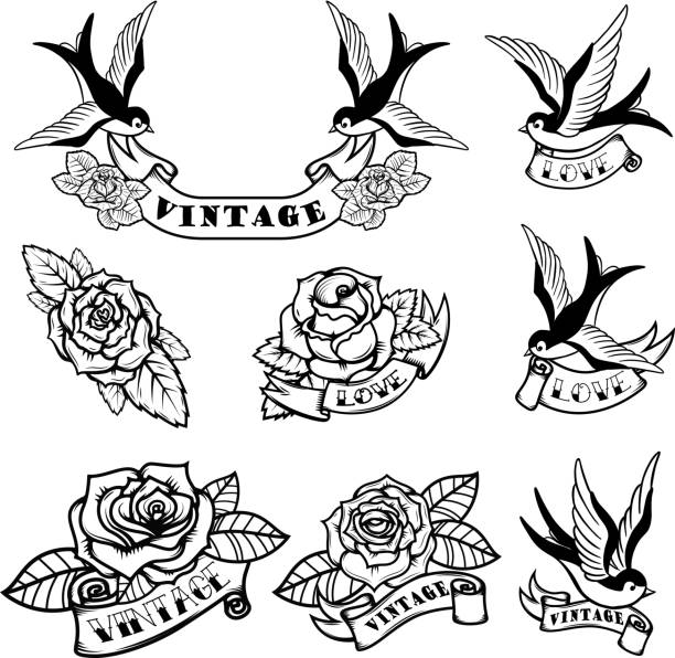satz von tattoo vorlagen mit schwalben und rosen. oldschool tattoo. vektor-illustration - vogel tattoos stock-grafiken, -clipart, -cartoons und -symbole