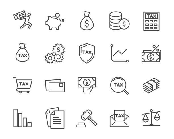 ilustraciones, imágenes clip art, dibujos animados e iconos de stock de conjunto de iconos de línea vector fiscal, tales como correo, pago, dinero, legal y más - taxes