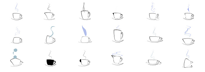 Set of Tea and Coffee Cup design Icons.