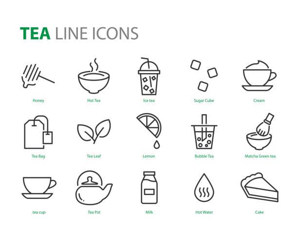 お茶のアイコン、ティーカップ、お湯、抹茶、suugar、アイスティーのセット - 抹茶点のイラスト素材/クリップアート素材/マンガ素材/アイコン素材