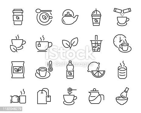 set of tea icons ,such as bubble tea, shake drink, teapot, green tea