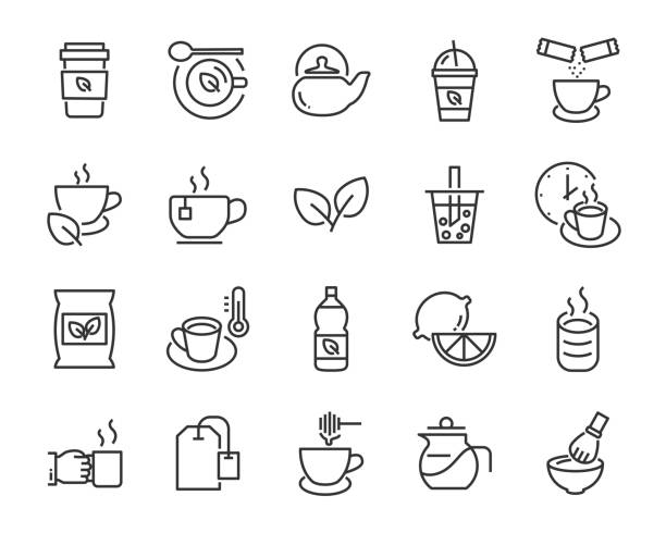 set of tea icons ,such as bubble tea, shake drink, teapot, green tea set of tea icons ,such as bubble tea, shake drink, teapot, green tea teapot stock illustrations
