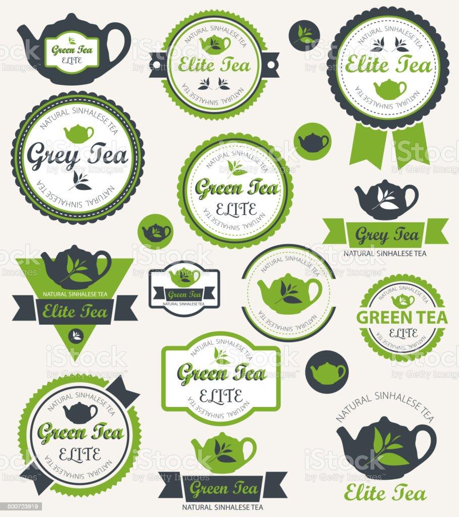 Set of tea label. Vector vector art illustration