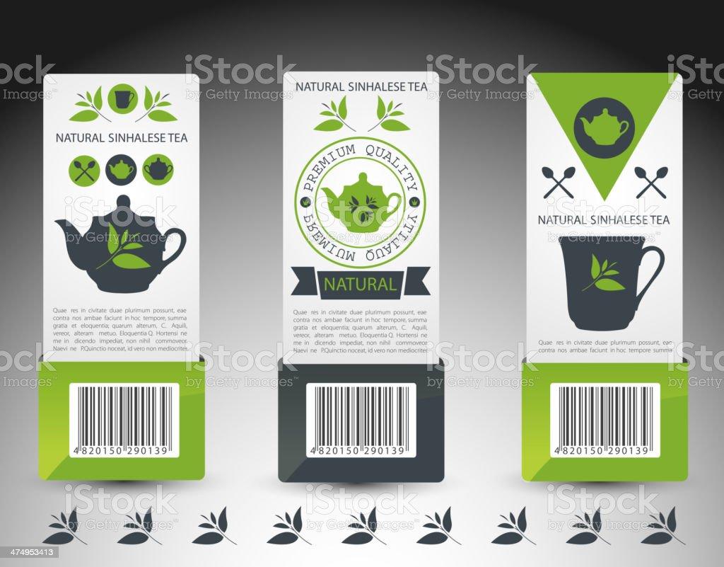 Set of tea labels. Vector vector art illustration