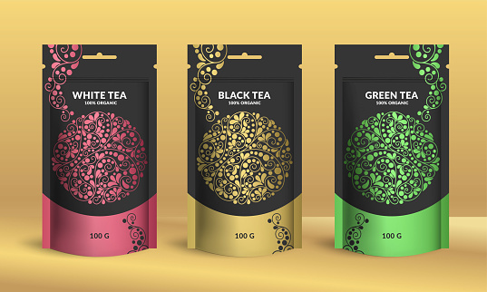 Set of tea packaging design with zip pouch bag mockup. Vector ornament template. Elegant, classic elements. Great for food, drink and other package types. Can be used for background and wallpaper.