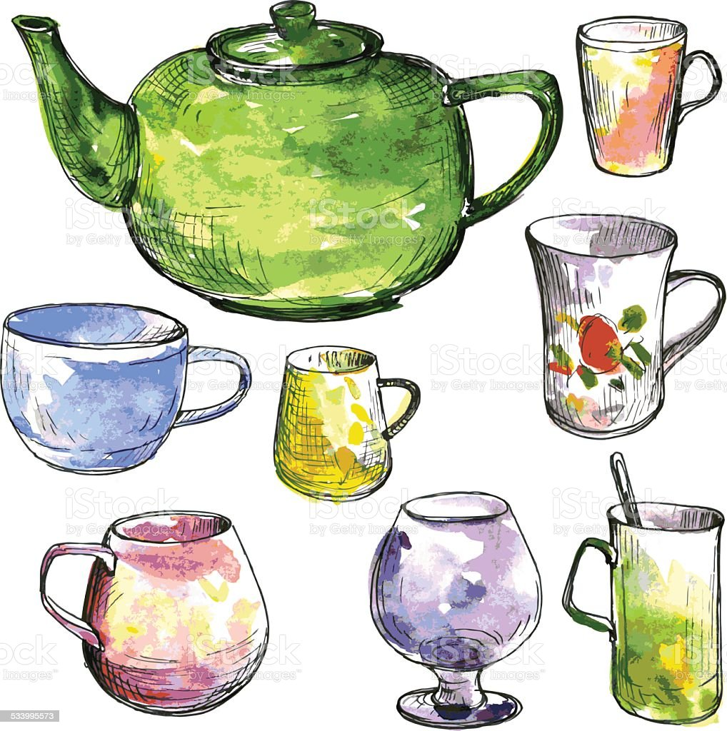 set of teacups and teapot vector art illustration
