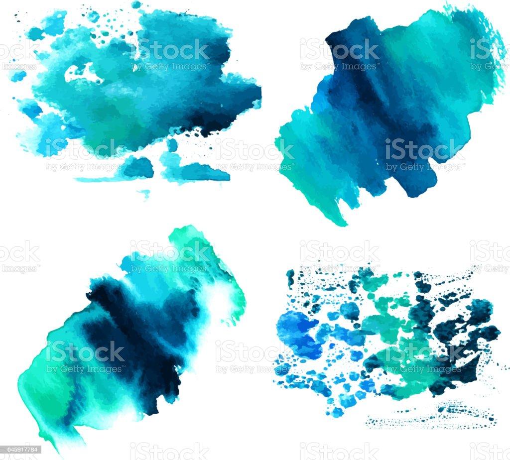 Conjunto de texturas de aquarela azul teal com traçados de pincel - ilustração de arte em vetor
