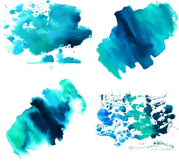 Conjunto de texturas acuarela teal azul con trazos de pincel - ilustración de arte vectorial