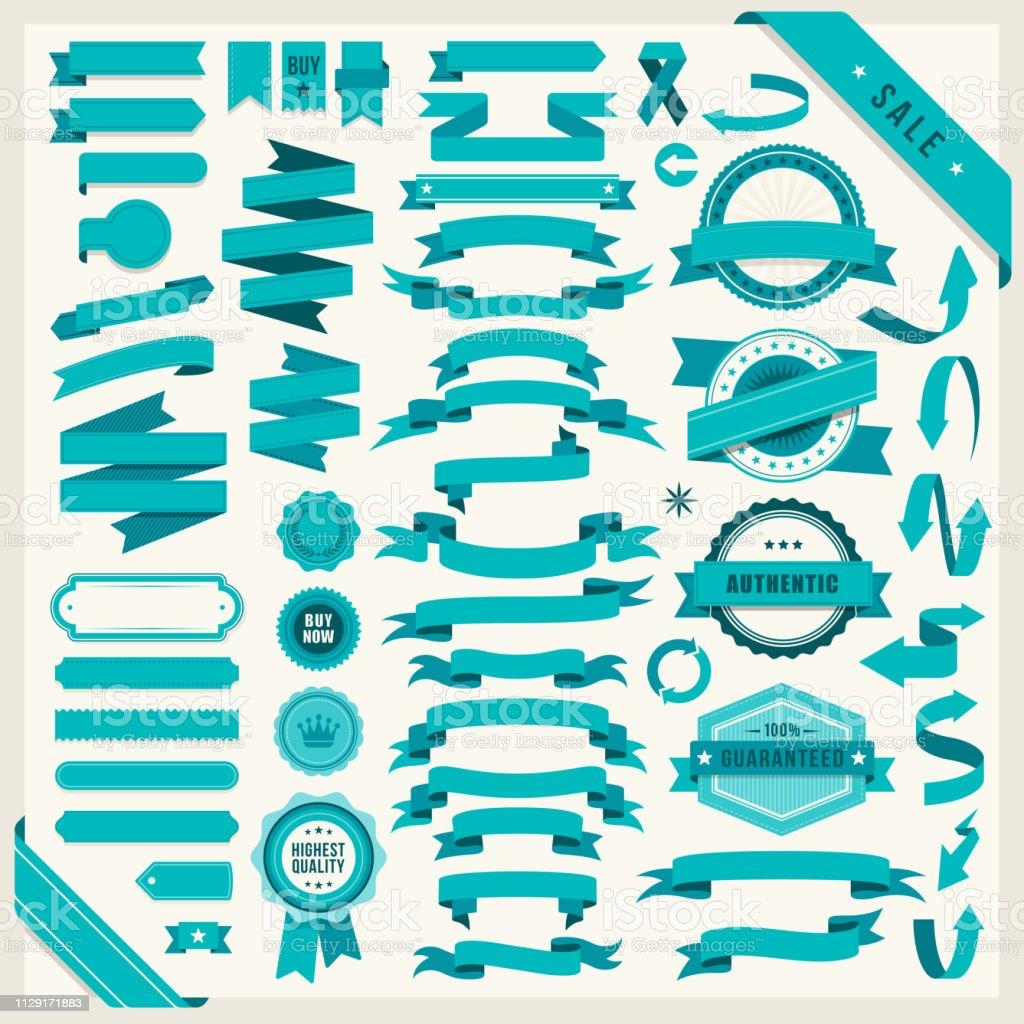 Conjunto de cintas de teal ilustración de conjunto de cintas de teal y más vectores libres de derechos de acontecimiento libre de derechos