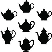 Black silhouette of antique teapots or coffee pots. Design for your menu restaurant card