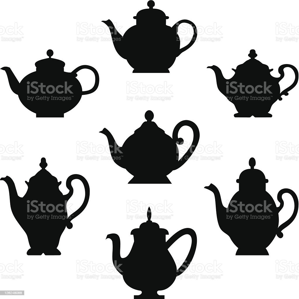 Set of teapots vector art illustration