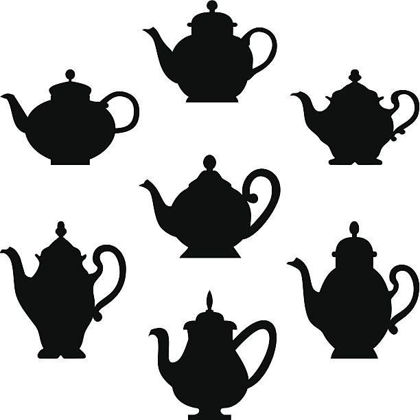 Set of teapots Black silhouette of antique teapots or coffee pots. Design for your menu restaurant card teapot stock illustrations