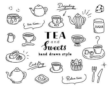 A set of teatime doodle illustrations of tea and sweets such as mugs, tea packs, tarts, teapots, etc.