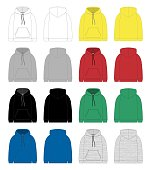 Set of technical sketch for men hoodie. Template hoody.