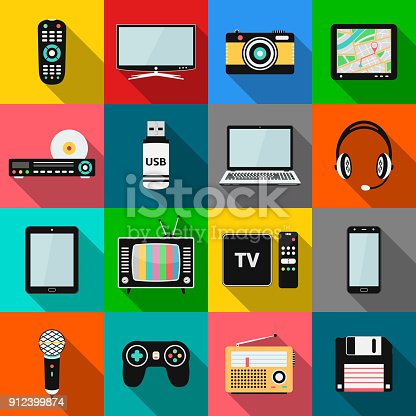 Set of technology and multimedia devices icons with long shadow effect. Vector illustration eps10