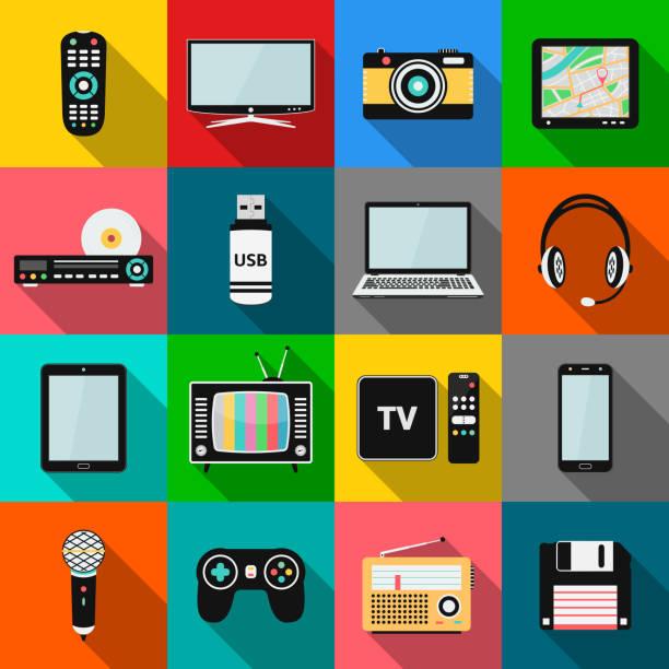 zestaw ikon technologii i urządzeń multimedialnych z długim efektem cienia - przemysł elektroniczny stock illustrations