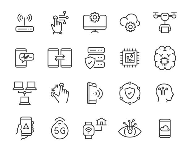 set of technology icon set, such as robot, digital, vr, ai, cyber set of technology icon set, such as robot, digital, vr, ai, cyber well dressed stock illustrations