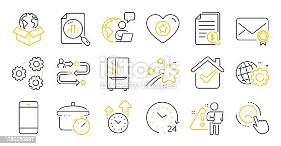Set of Technology icons, such as Delivery service, Seo gear, Analytics graph symbols. Smartphone, 24 hours, Refrigerator signs. Boiling pan, Time management, Verified mail. Gears, Dislike. Vector