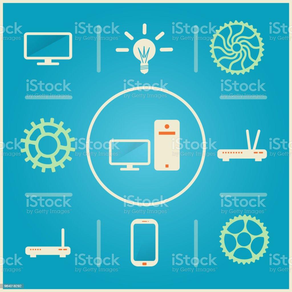 アイコン - パソコン、モニター、歯車、ルーター、スイッチ、携帯電話関連の技術の - つながりのロイヤリティフリーベクトルアート