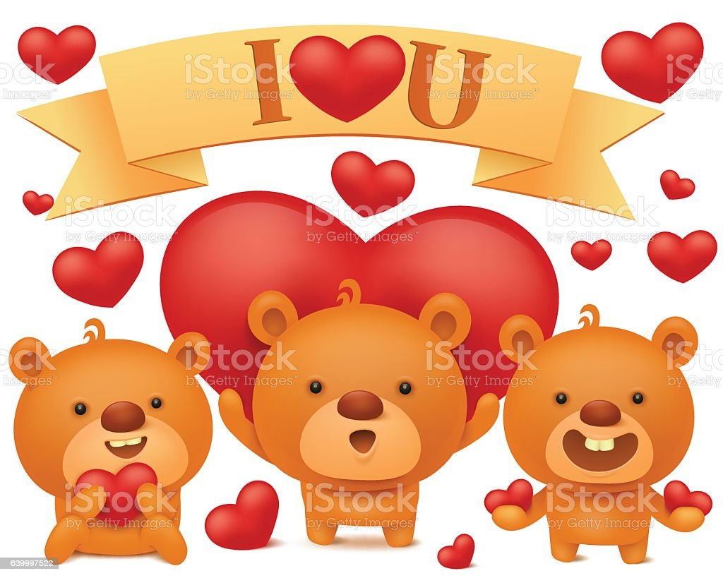 set of teddy bear emoji characters with red hearts stock vector art