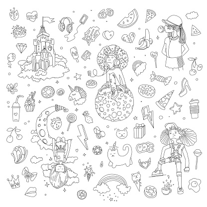 Set of teenage girl line icons, cute cartoon teen objects, fun line design vector in teenager girls concept. Doodle icon set for teenagers. Line hand drawn pizza, unicorn, sweets