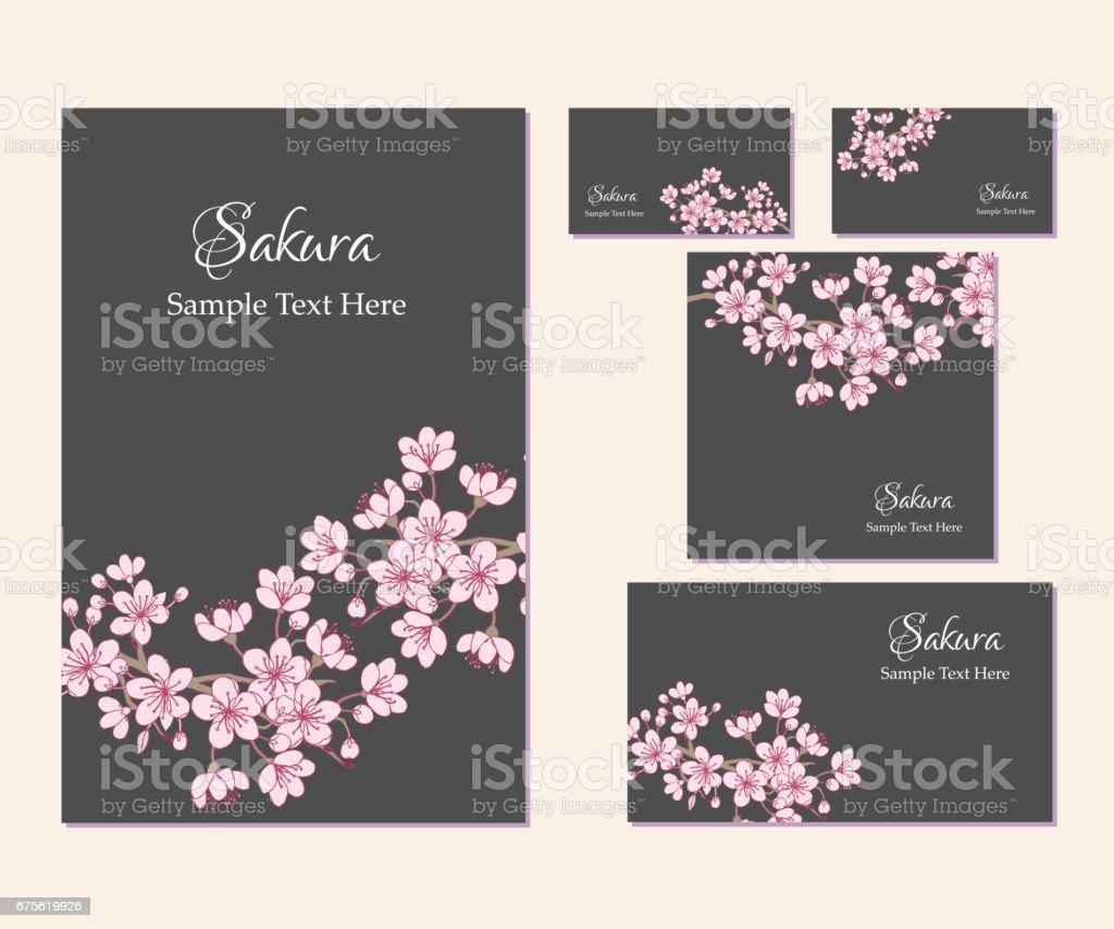 Set Of Template Corporate Identity With Sakura Stock Vector Art ...