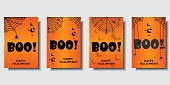 Set of template for your Website Headers or Banner designs  with cobweb, spider etc. Happy Halloween. Scary Design. Vector illustration.