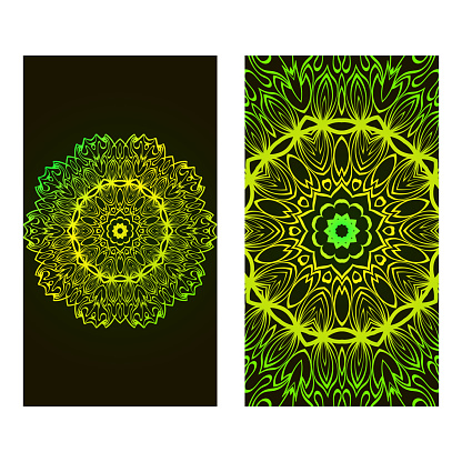 Set Of Template Greeting Card, Invitation With Space For Text. Mandala Design. Vector Illustration. Black green color