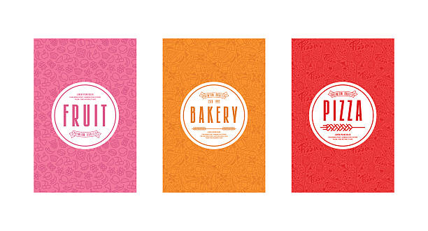 Set of template labels for bakery, pizza, fruit Set of seamless pattern and template labels for bakery, pizza, fruit bread backgrounds stock illustrations