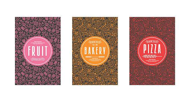 Set of template labels for bakery, pizza, fruit Set of seamless pattern and template labels for bakery, pizza, fruit. Color print on black label bread backgrounds stock illustrations