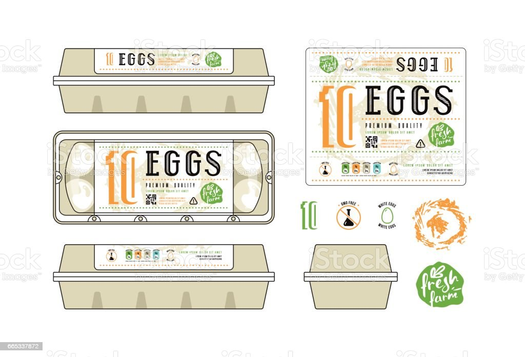 Set Of Template Labels For Egg Packaging Stock Vector Art & More ...
