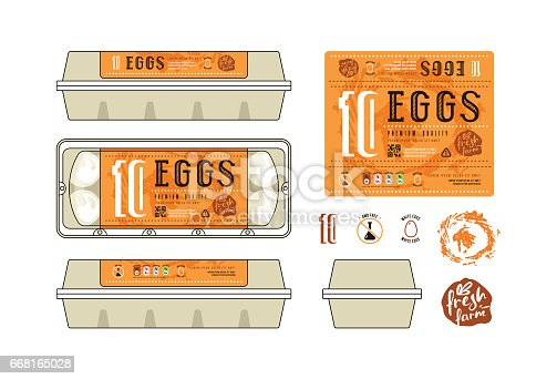 istock Set of template labels for egg packaging 668165028
