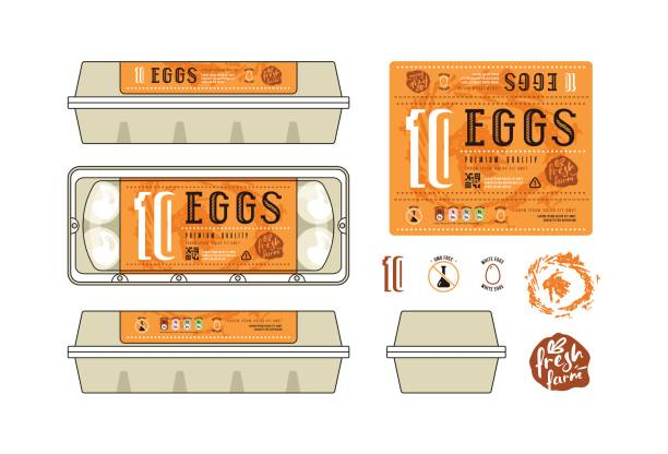 egg carton labels template - royalty free egg tray clip art vector images