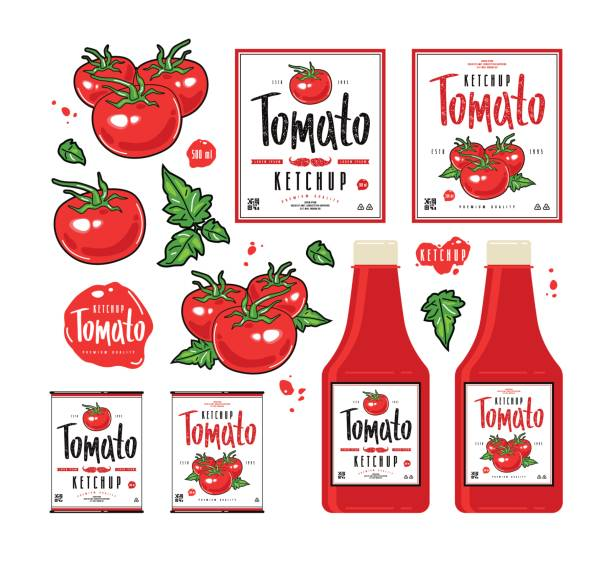 set of template labels for tomato ketchup - paradeiser stock-grafiken, -clipart, -cartoons und -symbole