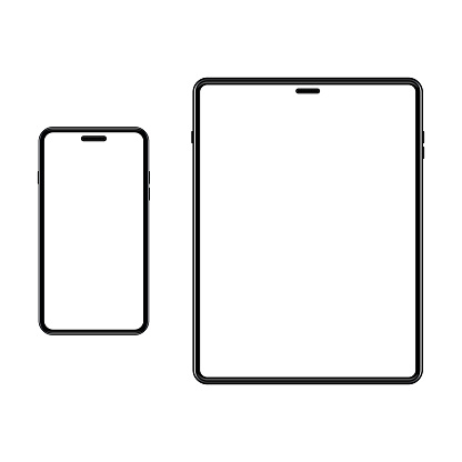 Set of template smartphone and tablet. White screen on portable device. Mockup gadget with empty, blank screen. Vector