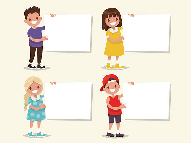 bildbanksillustrationer, clip art samt tecknat material och ikoner med set of templates. children hold a board. vector illustration - hålla