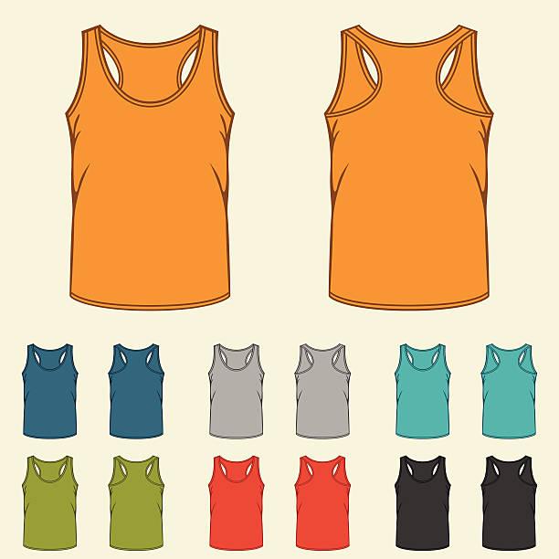 Set of templates colored singlets for men. Set of templates colored singlets for men. tank top stock illustrations
