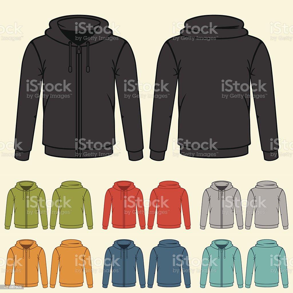 Set of templates colored sweatshirts for men. vector art illustration
