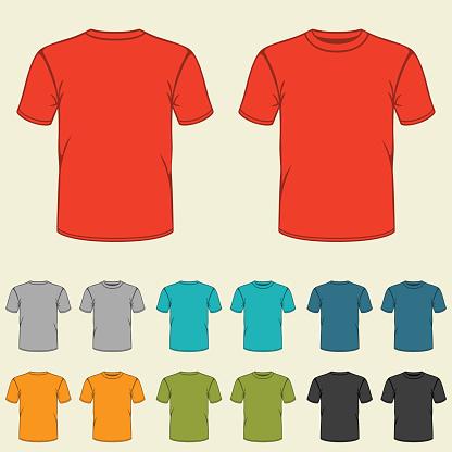 Conjunto de plantillas de color camisetas de los hombres.