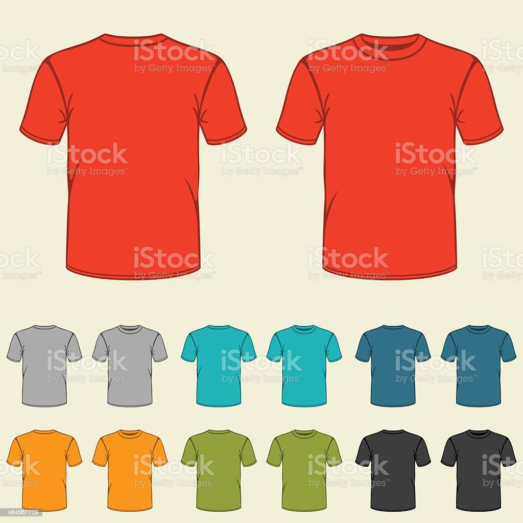 Set of templates colored t-shirts for men. vector art illustration